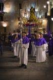 Tradycyjny zawód religijni Katoliccy rozkazy podczas Świętego tygodnia kurs grzesznicy wzdłuż ulic Madryt obraz royalty free