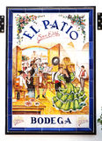 Tradycyjny znak restauracja na azulejos, Sevilla zdjęcia royalty free