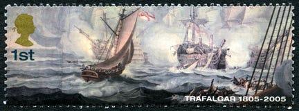 Trafalgar Britse Postzegel Royalty-vrije Stock Afbeeldingen