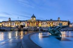 Trafalgar fyrkant london för ståendegalleri Arkivfoton