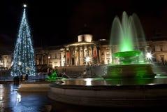 Trafalgar fyrkant på jul Fotografering för Bildbyråer