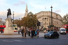 Trafalgar kvadrerar - London Royaltyfri Fotografi