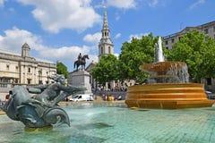 trafalgar london фонтана квадратное Стоковые Фото