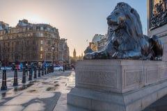 Trafalgar-Platz-Sonnenaufgang Lizenzfreies Stockfoto
