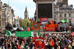 Trafalgar Quadrat, 1. Mai 2010, London Stockfotografie