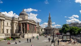 Trafalgar Quadrat und das National Gallery Stockfotografie