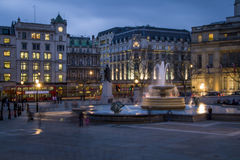 Trafalgar Square in the blue hour, London Royalty Free Stock Photos