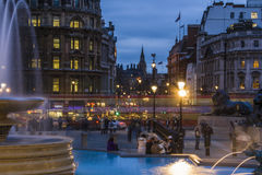 Trafalgar Square in the blue hour, London Stock Photo