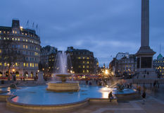 Trafalgar Square in the blue hour, London Stock Images