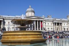 Trafalgar Square en het National Gallery in Londen Royalty-vrije Stock Afbeeldingen