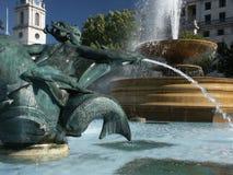 Trafalgar Square fountain close-up. Detail of fountains on Trafalgar Square, London, Great Britain, Europe Stock Photography