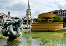 Trafalgar Square fountain in London Royalty Free Stock Photography