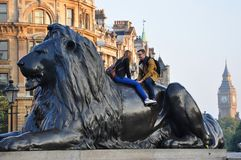 Trafalgar Square lion, London. Lion statue and tourists in Trafalgar Square, London, UK Royalty Free Stock Photo
