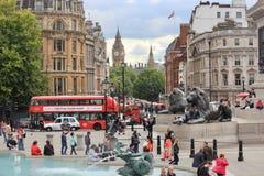Trafalgar Square in Londen, Engeland Stock Foto's