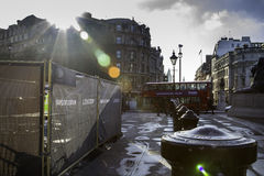 Trafalgar Square in Londen, Engeland, het UK Stock Fotografie