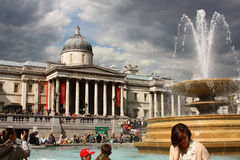 Trafalgar Square, London. The National Gallery in Trafalgar Square, London (during the manifestation of the 1 May 2010, the workers day royalty free stock image