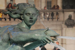 Trafalgar Square, London. Statue in a fountain on Trafalgar Square, United Kingdom Stock Photos