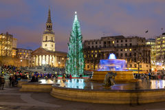 Trafalgar Square in London at Christmas Royalty Free Stock Photos