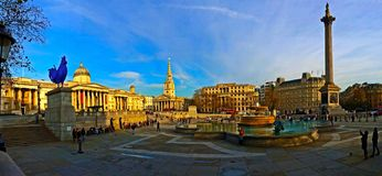 Trafalgar Square London England Panoramic Royalty Free Stock Photos