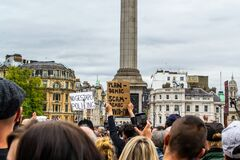 TRAFALGAR SQUARE, LONDON/ENGLAND- 26 September 2020: Protesters at the `We do not consent` rally