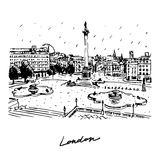 Trafalgar Square in London, England, UK. Vector hand drawn pencil sketch Royalty Free Stock Photography