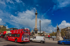 Trafalgar square, London. Trafalgar square, famous London double decker and Nelson's Satatue Stock Photo