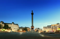 Trafalgar Square with Nelson Column at night Royalty Free Stock Photography