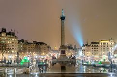 Trafalgar Square at night. With the Big Ben on the background, London, UK royalty free stock image