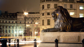 Trafalgar square at night Royalty Free Stock Images