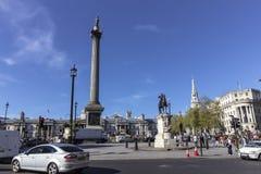 Trafalgar Square op een zonnige dag in Londen Royalty-vrije Stock Fotografie