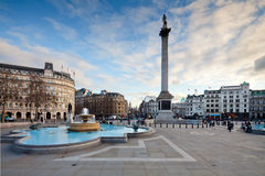 Trafalgar Square and Nelson's Column in the evening Stock Photos