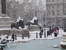 Trafalgar square snow II Royalty Free Stock Photos