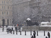 Trafalgar square snow III Royalty Free Stock Photos