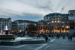 Trafalgar Square. Someone is walking, someone is looking, an evening in the beatiful sqare of London Stock Photos