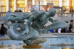 Trafalgar Square springbrunn Arkivfoto