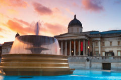 Trafalgar Square at sunset Stock Image