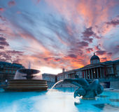 Trafalgar Square at sunset Royalty Free Stock Images