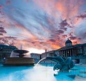 Trafalgar Square at sunset royalty free stock images