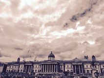 Trafalgar Square y National Gallery Fotografía de archivo libre de regalías