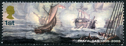 Trafalgar UK Postage Stamp. GREAT BRITAIN - CIRCA 2005: A used postage stamp from the UK, commemorating the 200th Anniversary of the Battle of Trafalgar, circa Royalty Free Stock Images