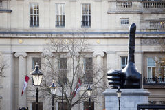 Trafalger square with sculpture thumbs up Stock Photos