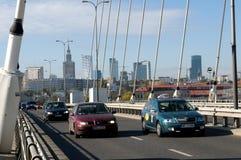 Traffic on the Świętokrzyski Bridge Stock Image