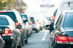 Traffic. Cars line up against a detour caused by a fatal accident on the highway during rush hour Royalty Free Stock Photo