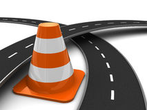 Traffic. 3d illustration of road cross and traffic cone, over white background Stock Photography