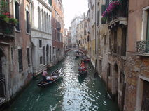 Traffic. Venise, italy, europe, gondolas, boats, old royalty free stock images