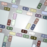 Traffic. Editable  illustration of busy car traffic Stock Images