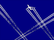 Traffic. Illustration of a busy day air travel in the skies Royalty Free Stock Image