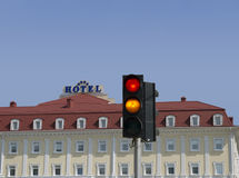 Traffic. Light with included red and yellow light ,  on a back background hotel Stock Photography