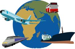 Traffic. Eart globe with traffic resources Stock Image