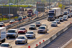 Traffic. Heavy morning traffic on Montreal's highways in Canada Royalty Free Stock Photography